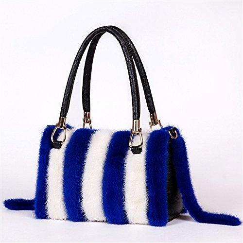 Um manuell die Mädchen pack Herbst und Winter neue Leder Leder erstellen und vielseitige mobile Mode single Schultertasche, Blau + Weiß