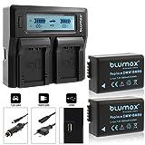 2x Blumax Akku für Panasonic DMW-BMB9 / DMW-BMB9E 890mAh + Doppelladegerät DMW-BMB9 Dual Charger   kompatibel mit Panasonic Lumix DMC-FZ40-FZ45-FZ47-FZ48-FZ60-FZ62-FZ70-FZ72-FZ100-FZ150 Leica V-LUX 2 / 3 …