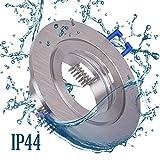 6x Einbaustrahler Bad IP44 mit GU10 Fassung RUND alu gebürstet Einbauspot Einbauleuchte Rahmen Schwenkbar Rostfrei Deckenspot Strahler Spot