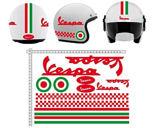 Pegatinas CASCO Kit casco VESPA ROSSO ROJO ITALIA vinilo VINY PULIDO para su computadora portátil, dormitorio, equipaje, coche, maletas, motocicletas, bicicleta, monopatín, tabla de snowboard, PS4 y Xbox One carrera cross track calcomanías de motocicletas