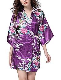 afdbafe7ab YAOMEI Donna Kimono Vestaglia Pigiama Sleepwear, di Seta Raso di Seta del  Pavone e Fiori Robe Accappatoio Damigella d'Onore da Notte…