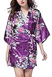YAOMEI Damen Morgenmantel Kimono, Seidig Satin Nachtwäsche Bademantel Robe mit Peacock und Blume Kimono Negligee Seidenrobe locker Schlafanzug, Kurz Stil (Small, Lila)