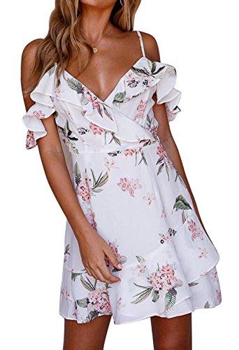 Eforyou Damen Ärmellos Kurz Sommerkleider Blumenmuster Strandkleider Casual Mini Schulter Kleider (S / EU36, Weiß)