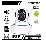 TELECAMERA IP CAMERA HD 720P WIRELESS LED IR LAN MOTORIZZATA WIFI RETE CON AUDIO DOPPIA ANTENNA immagine
