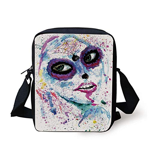 LULABE Girls,Grunge Halloween Lady with Sugar Skull Make Up Creepy Dead Face Gothic Woman Artsy,Blue Purple Print Kids Crossbody Messenger Bag Purse (Halloween Cat-girl Make-up)