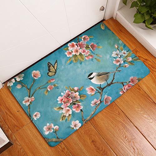 Nunbee Fußmatte Ölgemälde Vogel Designe Anti Rutsch Unterlage Wasseraufnahme Teppich Praktische Schmutzfangmatte Haustür Flur Innenbereich Aussen Lustig, Vogel1 50 * 80cm