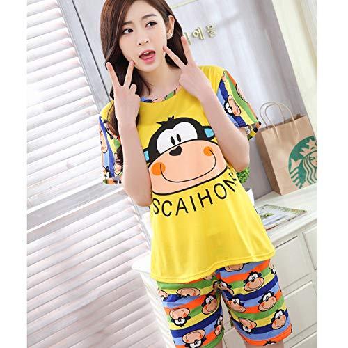 Handaxian Frauen Shorts + Kurzarm Shirt Pyjama Anzug Baumwolle Pyjama Cartoon Pyjama