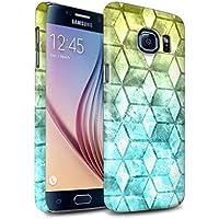 STUFF4 Matte Duro Snap On Custodia/Cover/Caso/Cassa del Telefono per Samsung Galaxy S6/G920 / Giallo/blu / Colore cubo disegno