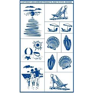 Armour Etch Stencil Rub N Etch Stencil, Sea Shore, 5-Inch by 8-Inch