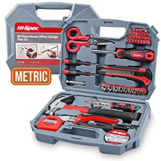 Hi-Spec 49 Piece Home Office Garage Tool Kit including Heavy Duty Fiberglass Hammer, Adjustable Wrench, Combination Pliers, Tin Snips, Sockets, Cutting Tool, Bit Driver & Screwdriver Bits, Precision Screwdrivers, Measuring Tape & Duct Tape – all in Compact Storage Case
