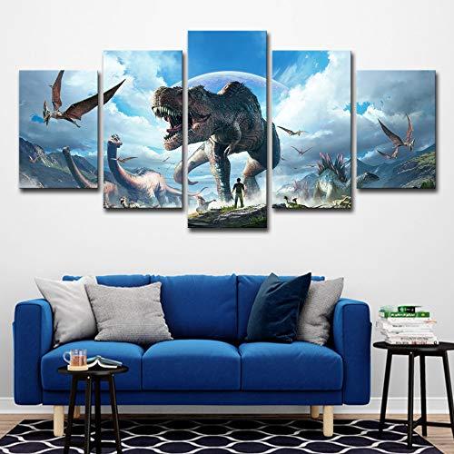 Leinwand Malerei WohnkulturWandkunstRahmen 5 Stücke Jurassic Park Dinosaurier Bilder Für Wohnzimmer Hd Drucke Tier kein rahmen L: 12X18-2P12X24-2P 12X30-1P
