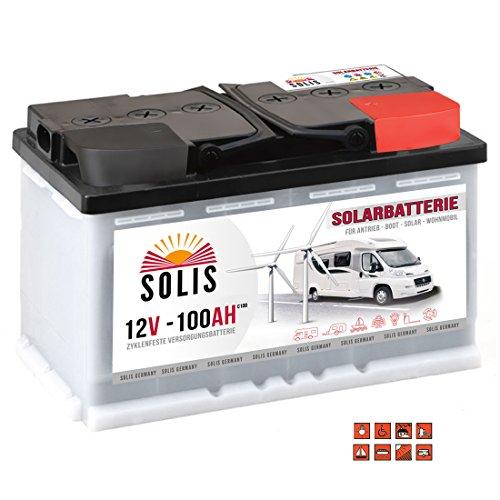 Preisvergleich Produktbild Solis Solarbatterie 12V 100Ah Wohnmobil Boot Marine Versorgung Verbraucher Batterie