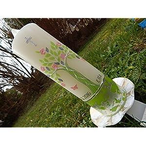 Taufkerze Lebensbaum grün rosa silber Taufkerzen für Mädchen 250/70 mm inkl. Beschriftung