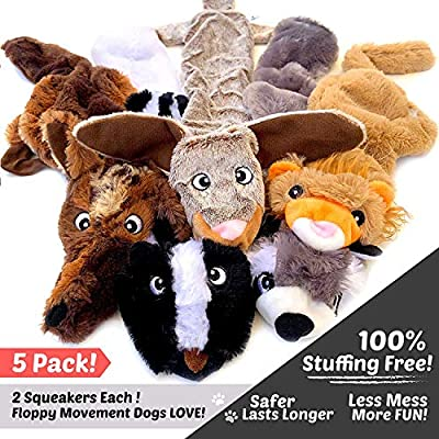 GXL Odibess Dog Squeaky Toys, No Stuffing Durable Dog Toys Set, No Dangerous Fluff to Chew or Swallow, Big Plush Dog Toys for Puppy Toys and Large Dogs, Pack of 5 from Odibess