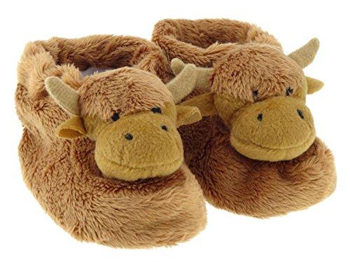 Cute Scottish Highland Kuh braun Toddler Slipper Stiefel Stiefelchen mit Rutschfeste Sohle