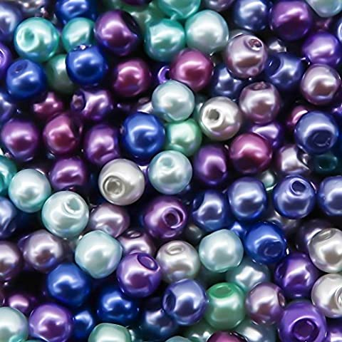 TOAOB 4mm Round Glass Pearl Beads Mixed Colour Pack of 1000pcs