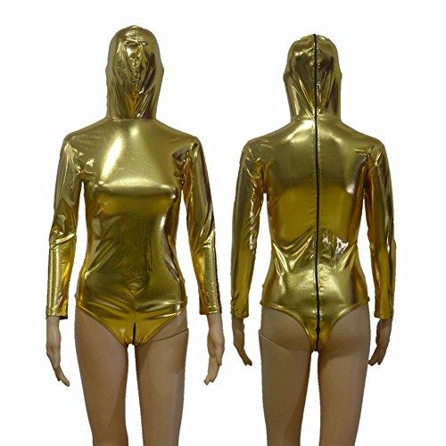 GRONG Nachtclub Bühnenperformance All-Inclusive Sexy Dessous, Sexy T Gabelung Licht Hohe Elastische Beschichtung Fitness Strumpfhosen,Gold,XL (Red Fat Suit Kostüm)