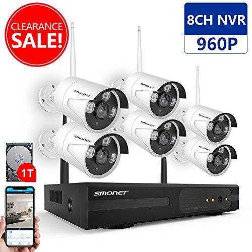 Système de Sécurité Caméra Sans Fil, SMONET 1080P 8 Voies Enregistreur NVR avec 6 Pièce 1.3 MP Caméras IP Vidéosurveillance sans fil Soutien Mouvement Détection (Disque dur 1To Préinstallé)