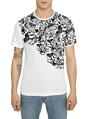 Mens Designer Cool Rock Band - Tattoo Style White Black Print T Shirts SPARTAN WARRIOR Trendy Urban - Street Fashion Graffiti Design Tee Shirts - 100% Cotton Jersey Crew Neck Tops for Men S M L XL XXL
