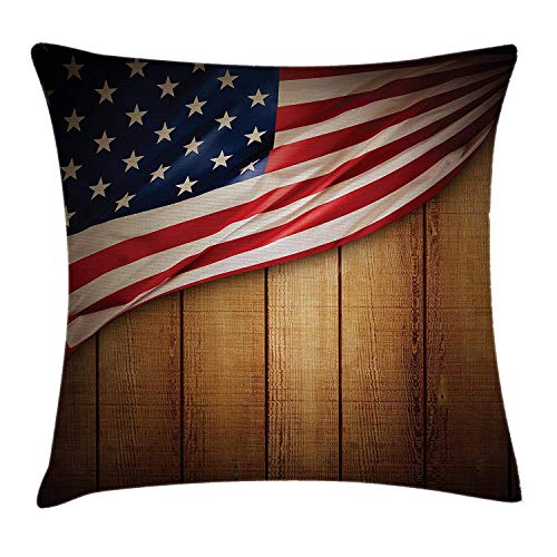 United Vertical Flag (American Flag Throw Pillow Cushion Cover, United States Design on a Vertical Retro Wooden Rustic Back Old Glory Country, Decorative Square Accent Pillow Case, 18 X 18 inches, Blue Red)