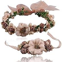 Atrezzo Novia Comunion Damas de Honor madrinas de diadema corona de flores marrones y pulsera con cierre cinta gasa diseños ideales novedad 2018 de OPEN BUY