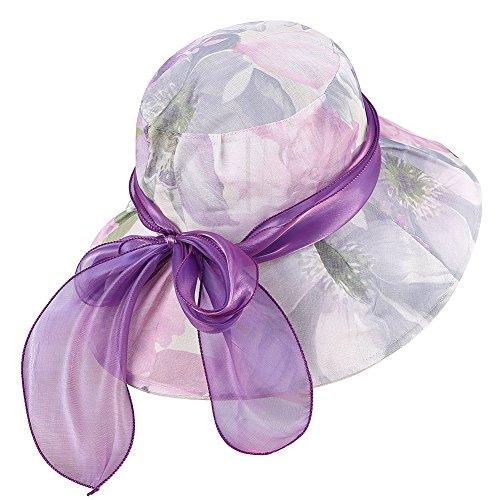 Amorar Eleganter Vintage Gaze Sonnenhut, Faltbar Sonnenschutz Blume Wide Brim Beach UV schützen Hüte für Damen Frauen,EINWEG Verpackung