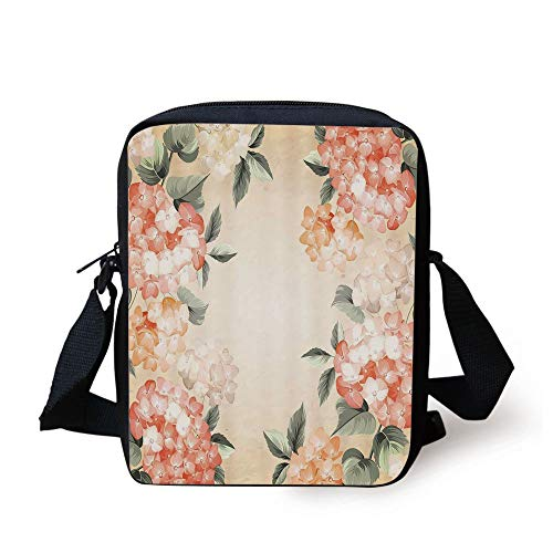CBBBB Floral,Blooming Hydrangea Flowers Leaves Bouquet Vintage Style Spring Nature Print,Salmon Reseda Green Print Kids Crossbody Messenger Bag Purse