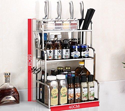 Neue Multifunktions-Edelstahl-Küchenregal 3-stöckige Boden Lagerung Halten Sie die Küche sauber ( größe : 40*58cm )