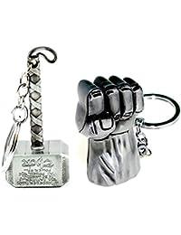 Combo Of Thor Hammer Keychain& Hulk Hand Keychain (Combo Set Of 2)