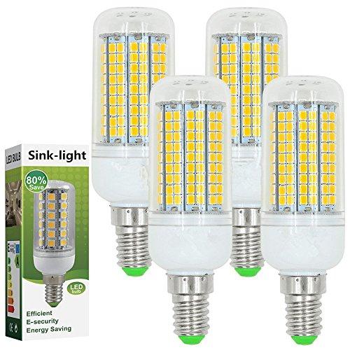 Sink-light® 4 Stück E14 LED Lampe 15W AC 220-240V Warmweiß 3000K 180x2835 SMD