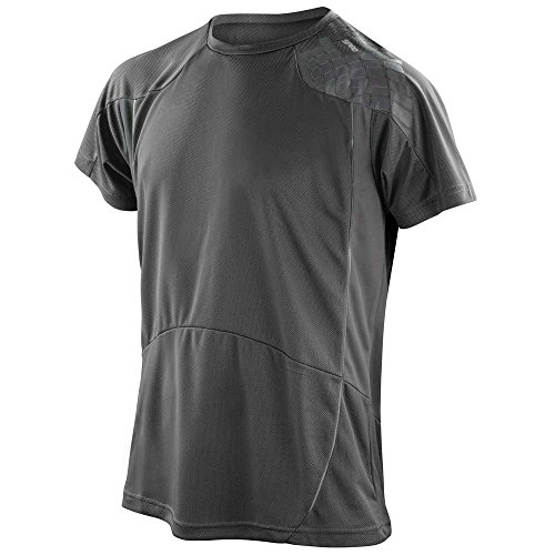 Spiro Mens Colours Short Sleeve Sports Fitness Training Performance Shirt black/grey