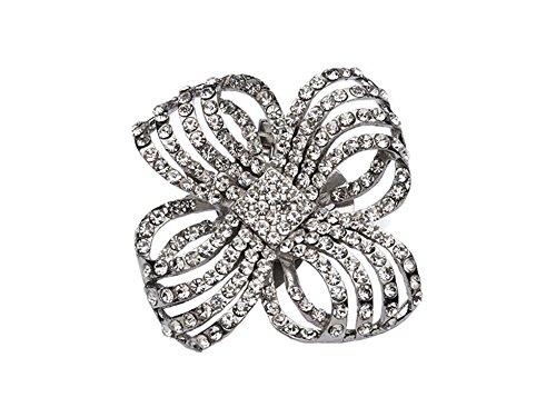 """La Loria - Donna Clip Decorative Per Scarpe """"Flashing Flower"""" Gioielli, Spille, le clip del pattino in colore argento - 1 Coppia"""