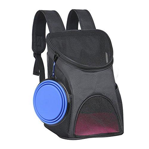 Ewolee Hunde Rucksack Haustiertragetasche Atmungsaktiv Netzfenster für Hunde und Katzen mit Klappbarer Reisenapf