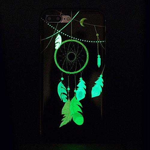 Etsue [Leuchtende Nacht] TPU Schutzhülle für iPhone 7 Plus (5.5 Zoll) 2016 Silikon Handyhülle, Malerei Tier Blume Muster Einzigartig Night Luminous TPU Silikon Handytasche Weiche Schlank Ultradünnen K Night Luminous,Traumfänger,Blatt