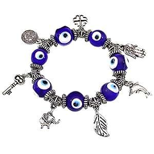 Bracelet élastique avec charms et oeil grec bleu porte-boneur