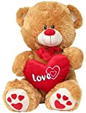Wagner 9020 - XL Plüschbär Teddy Bär mit Herz - 50 cm groß - hell-braun - Teddybär