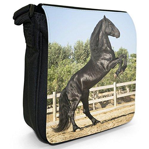 Beauty cavallo e stallone, colore: nero, Borsa a tracolla in tela, colore: nero, taglia: S Nero (Black Stallion Prances 2 Legs)