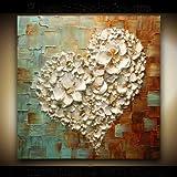 TTKX@ Handbemalte Abstrakte Ölgemälde auf Leinwand Handmade Roten Herz Malerei Modernen Haus Wandkunst Bilder Große,70X70Cm,Weiß