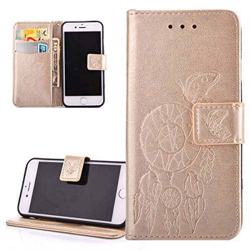 Custodia iPhone 7, ISAKEN iPhone 7 Flip Cover con Strap, Elegante borsa Tinta Unita Piuma Design in Sintetica Ecopelle PU Pelle Protettiva Portafoglio Case Cover per Apple iPhone 7 / con Supporto di S Dreamcatcher: gold
