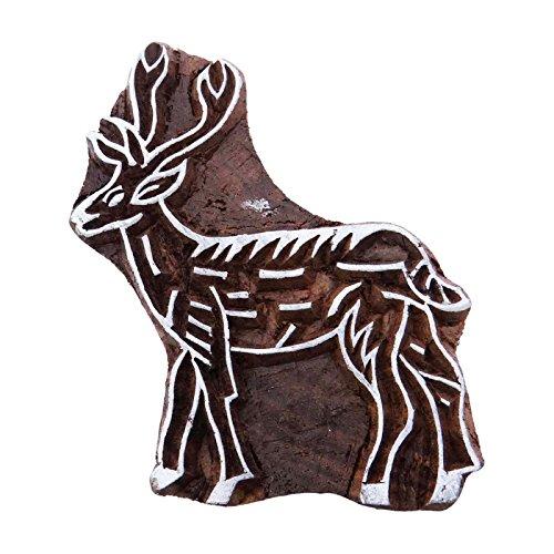 dekorative Holzblock Kunst indian Hirsch Holztextil Hand geschnitzt Grenze Stempel