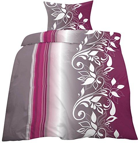 2tlg. Winter Kuschel Fleece Bettwäsche 135x200cm und 80x80cm Winterbettwäsche mit Reißverschlüsse Microfaser Pink Flieder Rosa Grau Weiss K