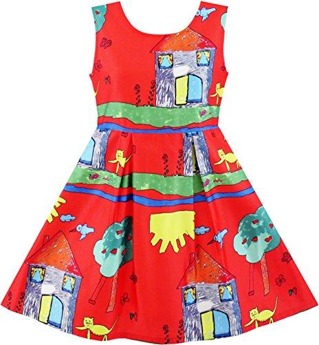 Mädchen Kleid Haus Baum Katze Vogel Drucken Gr. 110 (Haus Kleid)