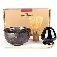 Goodwei Juego de té Matcha - Bol de té, batidor y soporte incl. Caja de regalo (negro)