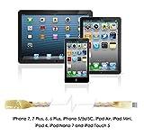 Lightning Kabel - 1m, Gold, Neustes Design - Sehr schnelles iPhone 7 Ladekabel - verstärktes USB Datenkabel mit Knickschutz - Für Apple iPhone 7 6 5, iPad, iPod - SWISS-QA Geldrückgabe Garantie - 5