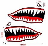 2 Stück Vinyl Aufkleber Autoaufkleber Rot Haifischmaul Zähne Haifisch Shark Teeth Fischen Meerestier Fischerboot Stickers Spiegel Auto Moto Motorrad Fahrrad Helm Fenster Tür Tuning B 64