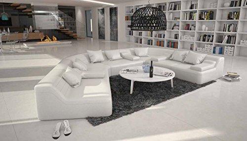 Rund-Sofa mit Bezug aus weißem Kunstleder 410x272 cm halbrund | Catoca | Designer Wohnlandschaft im XXL Format Recamiere links | Couch-Garnitur für...