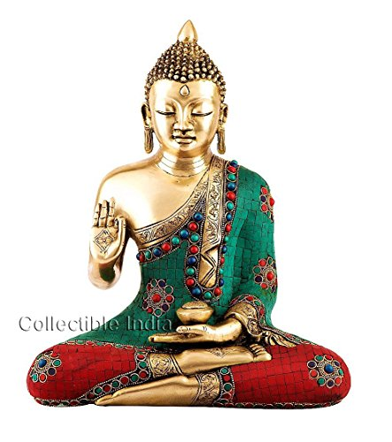 Collectible India Gorgeous 1.2 Feet Large Buddha Statue , Gemstones Hand work on Brass Buddhist Figure