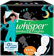 Whisper Ultra Night Sanitary Pads For Women, XXX-Large Pack of 20 Napkins