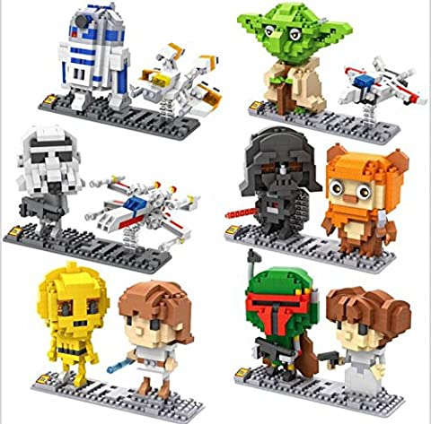 Star Wars Super Heroes Building Blocks - 12 Character Micro nano -Diamond- minifigure Brick Set - Children's toys DIY Assemble ( Darth Vader , Luke Skywalker , Princess Leia , R2D2 , C3PO , Stormtrooper , X wing , Yoda , Ewok , Jedi and Sith