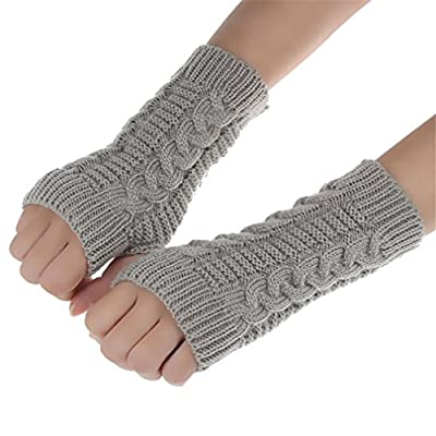 Kolylong Fashion Knitted Arm Fingerless Winter Gloves Unisex Soft Warm Mitten